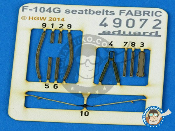 Image 1: F-104G Seatbelts | Photo-etched parts in 1/48 scale manufactured by Eduard (ref. 49072)