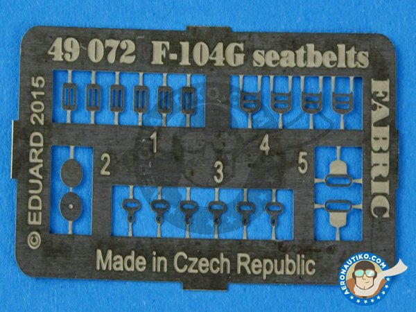 Image 2: F-104G Seatbelts | Photo-etched parts in 1/48 scale manufactured by Eduard (ref. 49072)