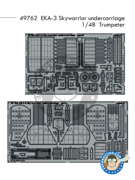 Douglas A-3 Skywarrior EKA-3 | Photo-etched parts in 1/48 scale manufactured by Eduard (ref. 49762) image