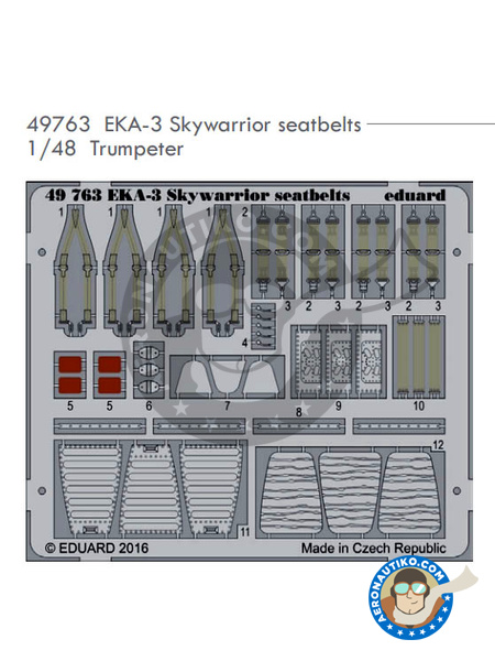 Douglas A-3 Skywarrior EKA-3 | Seatbelts in 1/48 scale manufactured by Eduard (ref. 49763) image