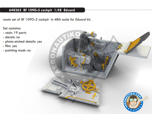 Image 1: Messerschmitt Bf 109 G-5 | Cockpit set in 1/48 scale manufactured by Eduard (ref. 648263)