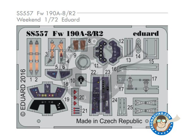 Image 1: Focke-Wulf Fw 190 Würger - Cockpit A-8 / R2 | Coloured photo-etched cockpit parts in 1/72 scale manufactured by Eduard (ref. SS557)