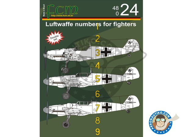 Image 2: Luftwaffe numbers for fighters | Marking / livery in 1/48 scale manufactured by FCM Decals (ref. 48024)