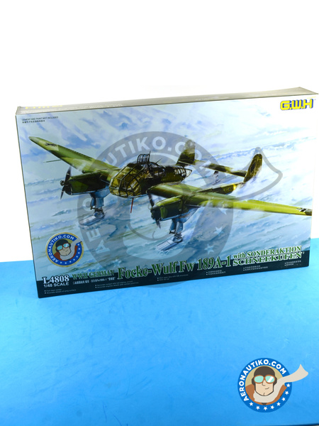 Focke-Wulf Fw 189 Uhu A-1 Sonderaktion Scnheekufen Airplane kit in 1/48  scale manufactured by Great Wall Hobby (ref  L4808)