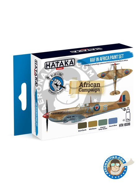 BLUE LINE – RAF in Africa paint set | Paints set manufactured by HATAKA (ref. HTK-BS08) image