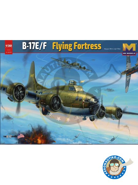 B-17 E/F Flying Fortress | Airplane kit in 1/32 scale manufactured by HK Models (ref. 01E05) image