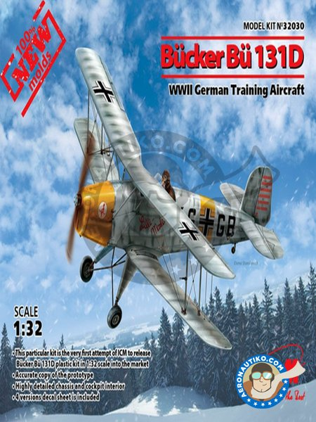 Bücker Bü131D WWII German Training Aircraft | Airplane kit in 1/32 scale manufactured by ICM (ref. 32030) image