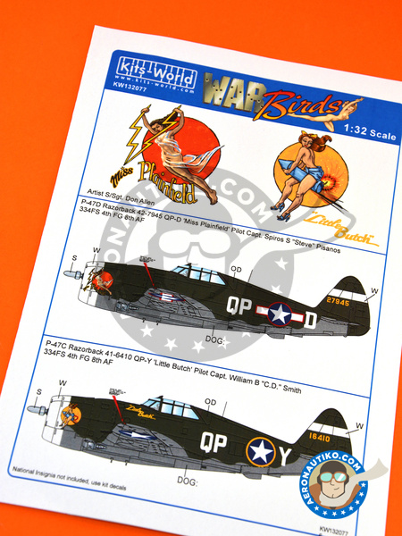 Republic P-47 Thunderbolt D Razorback | Marking / livery in 1/32 scale manufactured by Kits World (ref. KW132077) image