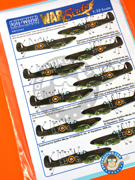 Supermarine Spitfire Mk.IIa Mk. IIa | Marking / livery in 1/32 scale manufactured by Kits World (ref. KW132103) image