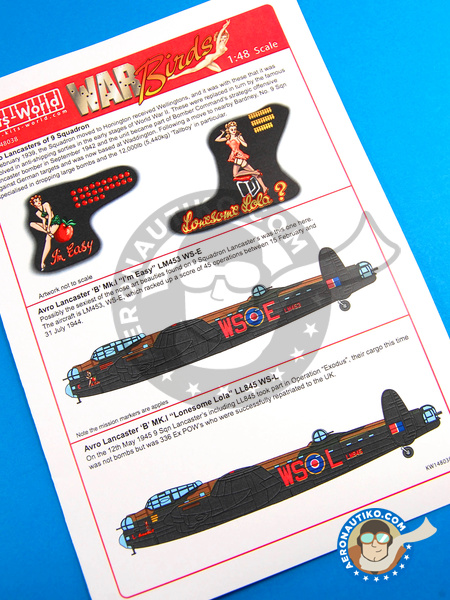 Avro Lancaster B MK. I | Marking / livery in 1/48 scale manufactured by Kits World (ref. KW148038) image