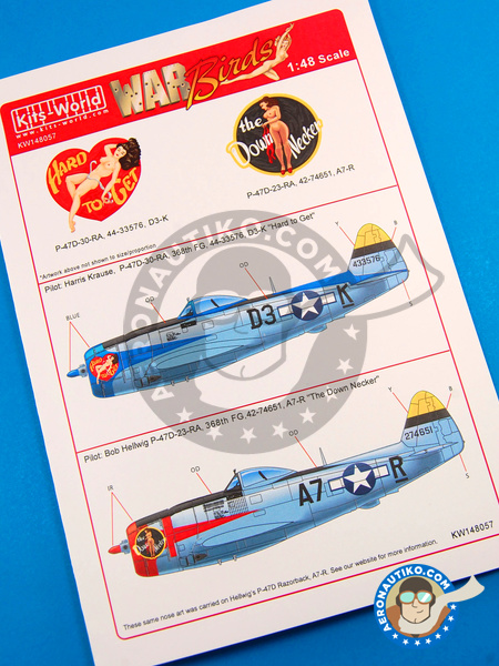 Republic P-47 Thunderbolt D | Marking / livery in 1/48 scale manufactured by Kits World (ref. KW148057) image