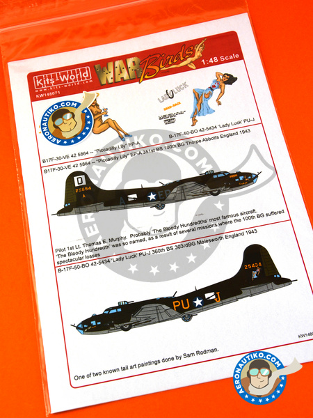 Boeing B-17 Flying Fortress F | Marking / livery in 1/48 scale manufactured by Kits World (ref. KW148071) image