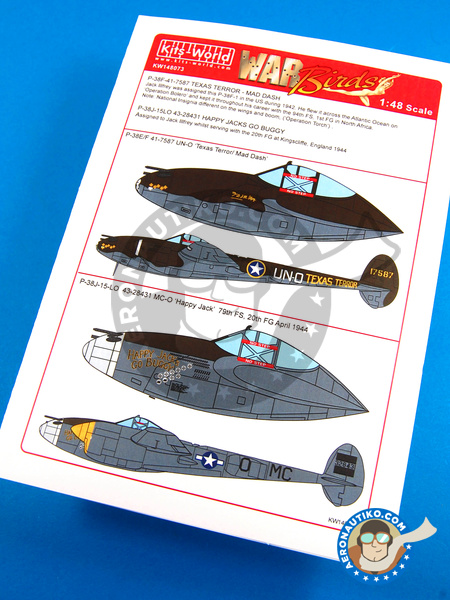 Lockheed P-38 Lightning J | Marking / livery in 1/48 scale manufactured by Kits World (ref. KW148073) image
