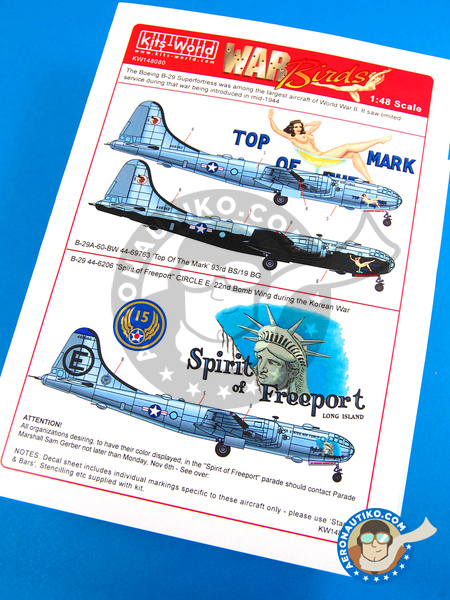 Boeing B-29 Superfortress | Marking / livery in 1/48 scale manufactured by Kits World (ref. KW148080) image