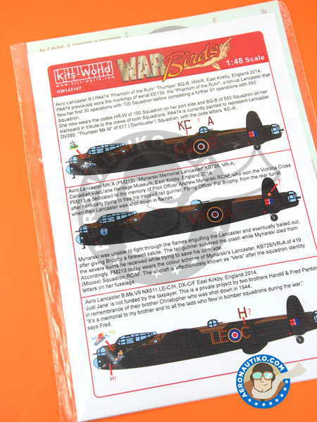Avro Lancaster B | Marking / livery in 1/48 scale manufactured by Kits World (ref. KW148147) image