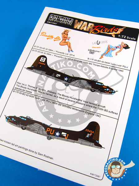 Boeing B-17 Flying Fortress F | Decals in 1/72 scale manufactured by Kits World (ref. KW172067) image