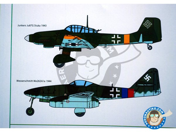 Image 4: Set of swastikas for four most popular Luftwaffe combat aircraft, in the four popular scales. | Marking / livery manufactured by Kits World (ref. KW1724832)