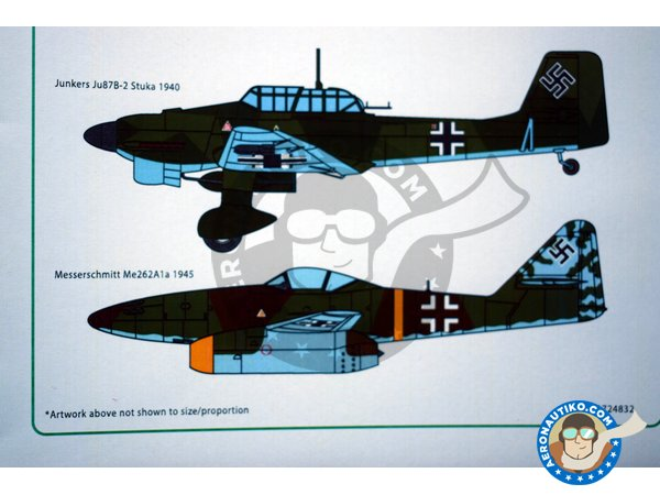 Image 6: Set of swastikas for four most popular Luftwaffe combat aircraft, in the four popular scales. | Marking / livery manufactured by Kits World (ref. KW1724832)