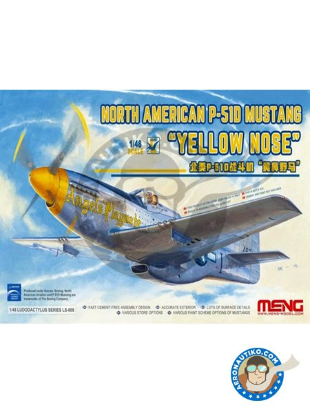 North American P-51D Mustang 'Yellow Nose' | Airplane kit in 1/48 scale manufactured by Meng Model (ref. LS-009) image