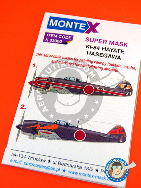 Nakajima Ki-84 Hayate | Masks in 1/32 scale manufactured by Montex Mask (ref. K32060) image