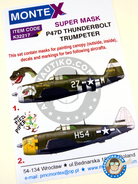 Republic P-47 Thunderbolt D Razorback | Masks in 1/32 scale manufactured by Montex Mask (ref. K32217) image