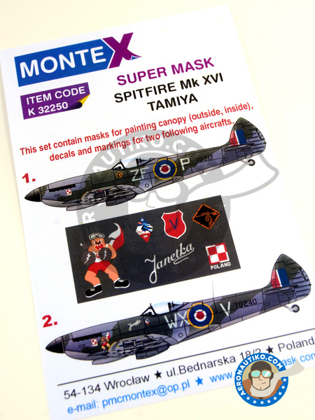 Supermarine Spitfire Mk. XVI | Masks in 1/32 scale manufactured by Montex Mask (ref. K32250) image