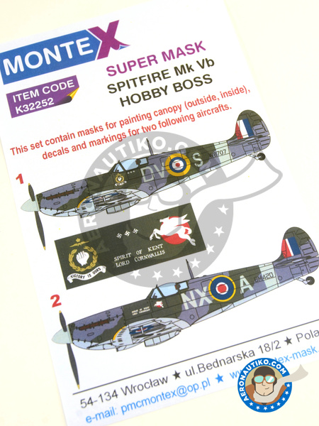 Supermarine Spitfire Mk. Vb | Masks in 1/32 scale manufactured by Montex Mask (ref. K32252) image