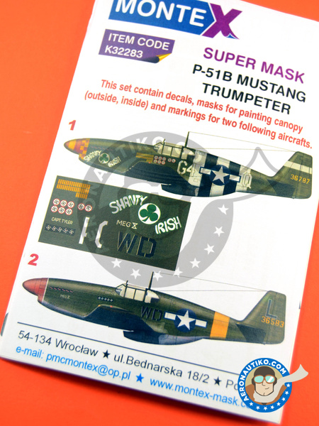 North American P-51 Mustang B | Masks in 1/32 scale manufactured by Montex Mask (ref. K32283) image