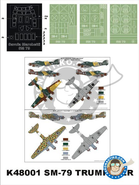 Savoia-Marchetti SM.79 | Masks in 1/48 scale manufactured by Montex Mask (ref. K48001) image