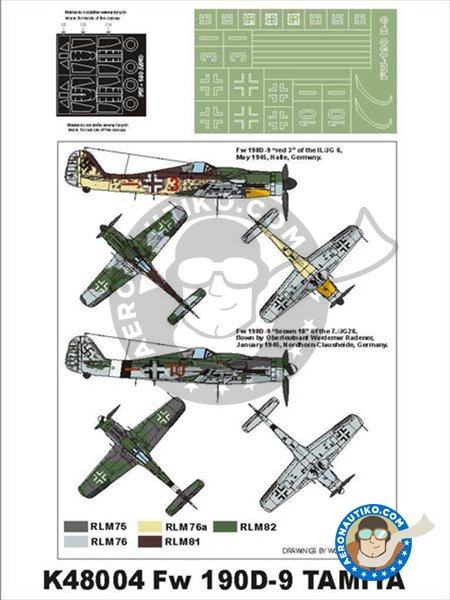 Fw 190 D9 | Masks in 1/48 scale manufactured by Montex Mask (ref. K48004) image