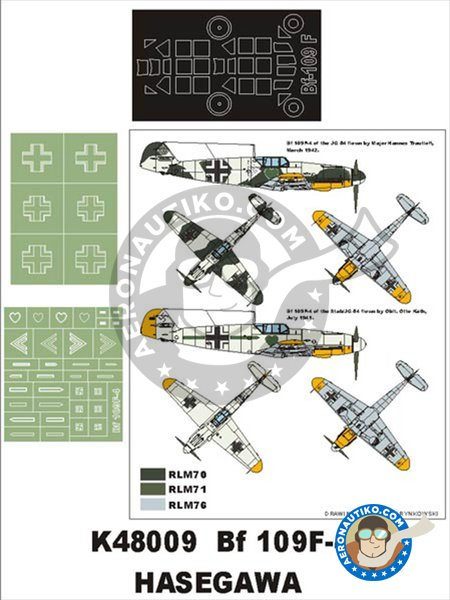 Bf 109F-4 | Masks in 1/48 scale manufactured by Montex Mask (ref. K48009) image