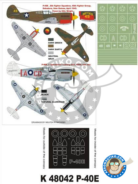 Curtiss P-40 Warhawk E | Masks in 1/48 scale manufactured by Montex Mask (ref. K48042) image