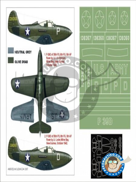 P-39 Aircobra | Masks in 1/48 scale manufactured by Montex Mask (ref. K48140) image