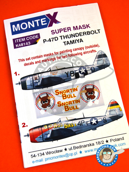 Republic P-47 Thunderbolt D Bubble Top | Masks in 1/48 scale manufactured by Montex Mask (ref. K48143) image