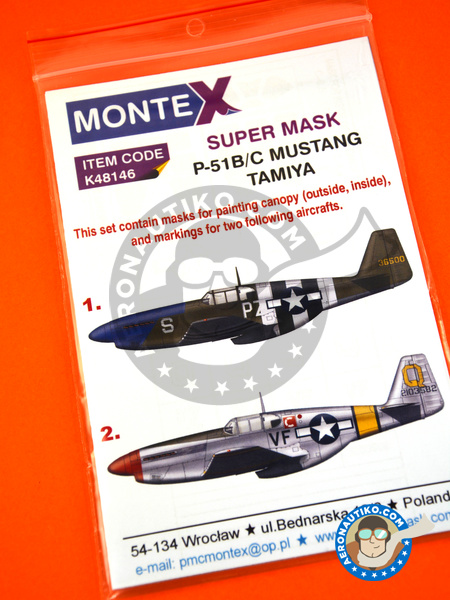 North American P-51 Mustang B / C | Masks in 1/48 scale manufactured by Montex Mask (ref. K48146) image