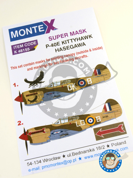 Curtiss P-40 Warhawk E | Masks in 1/48 scale manufactured by Montex Mask (ref. K48155) image