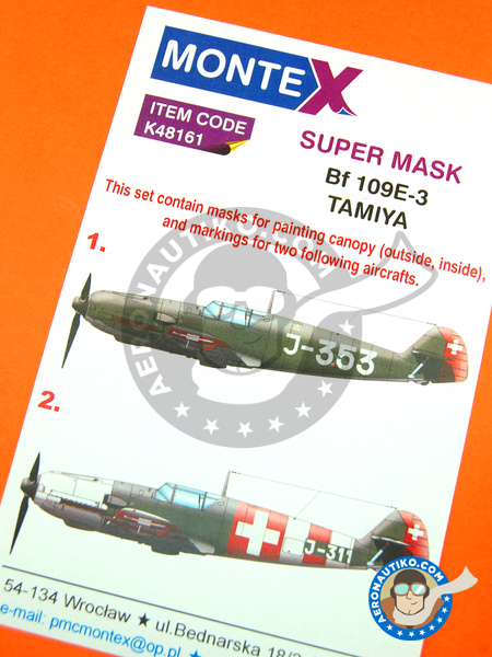 Messerschmitt Bf 109 E-3 | Masks in 1/48 scale manufactured by Montex Mask (ref. K48161) image