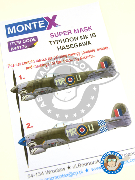 Hawker Typhoon Mk. Ib | Masks in 1/48 scale manufactured by Montex Mask (ref. K48176) image