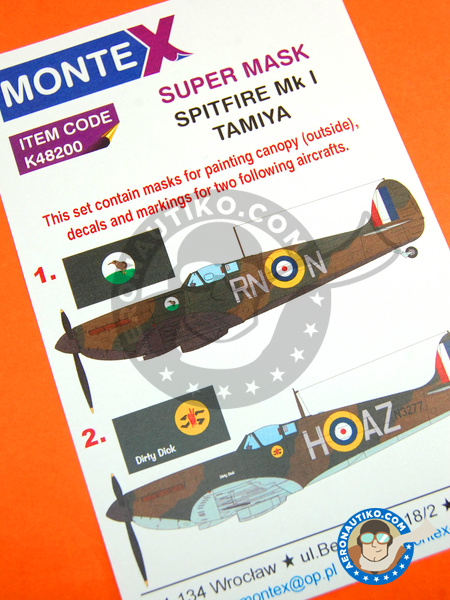 Supermarine Spitfire Mk. I | Masks in 1/48 scale manufactured by Montex Mask (ref. K48200) image