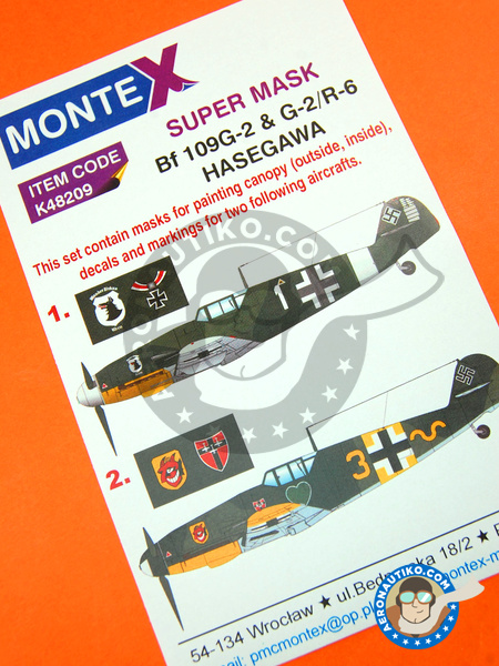 Messerschmitt Bf 109 G-2 | Masks in 1/48 scale manufactured by Montex Mask (ref. K48209) image