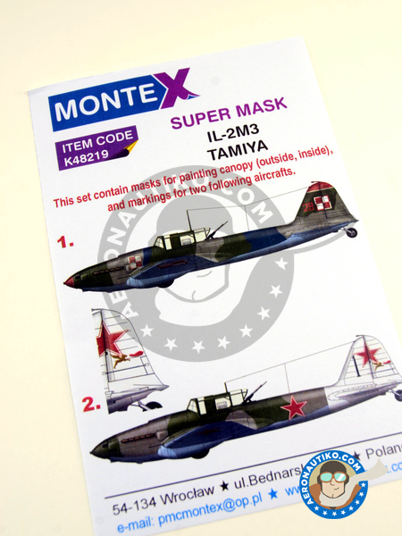 Ilyushin IL-2 Shturmovik IL-2M3 | Masks in 1/48 scale manufactured by Montex Mask (ref. K48219) image