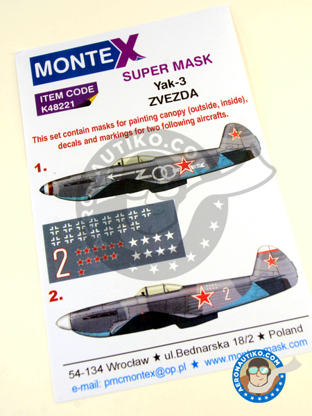 Yakovlev Yak-3 | Masks in 1/48 scale manufactured by Montex Mask (ref. K48221) image