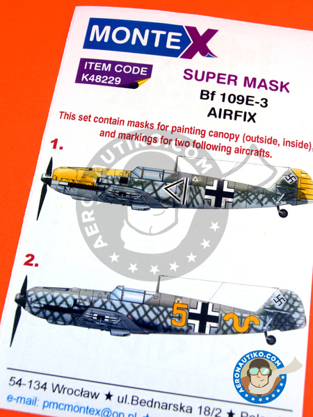 Messerschmitt Bf 109 E-3 | Masks in 1/48 scale manufactured by Montex Mask (ref. K48229) image