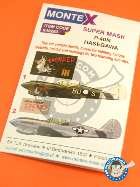 Curtiss P-40 Warhawk N | Masks in 1/48 scale manufactured by Montex Mask (ref. K48263) image