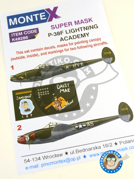Lockheed P-38 Lightning F | Masks in 1/48 scale manufactured by Montex Mask (ref. K48286) image