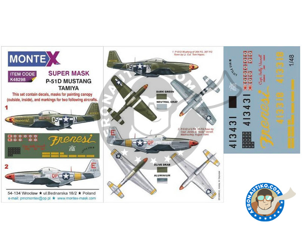 Image 1: North American P-51 Mustang D | Masks in 1/48 scale manufactured by Montex Mask (ref. K48298)