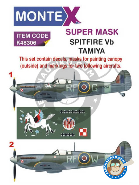 Supermarine Spitfire Mk. Vb | Masks in 1/48 scale manufactured by Montex Mask (ref. K48306) image