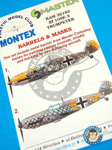 Messerschmitt Bf 109 E-3 | Masks in 1/32 scale manufactured by Montex Mask (ref. KAM32182) image