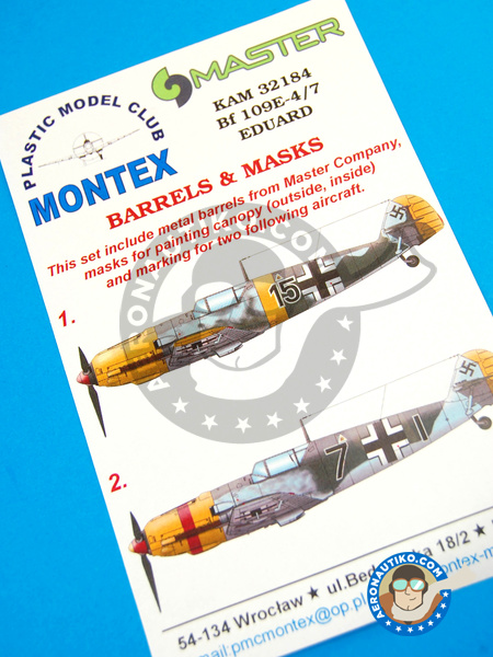 Messerschmitt Bf 109 E-4/7 | Masks in 1/32 scale manufactured by Montex Mask (ref. KAM32184) image