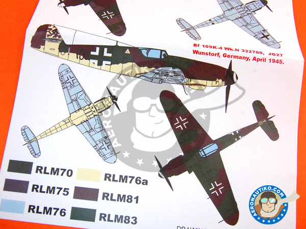 Image 8: Messerschmitt Bf 109 K-4 | Masks in 1/48 scale manufactured by Montex Mask (ref. KAM48096)